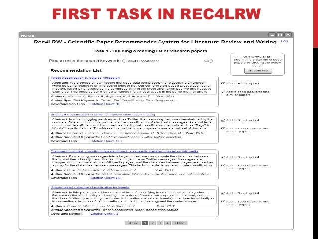 SECOND TASK IN REC4LRW