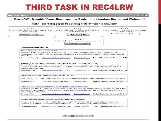 WORKFLOW OF TASKS IN REC4LRW USER INTERACE