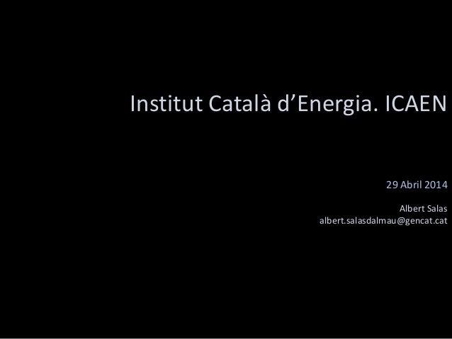 Institut Català d'Energia. ICAEN 29 Abril 2014 Albert Salas albert.salasdalmau@gencat.cat