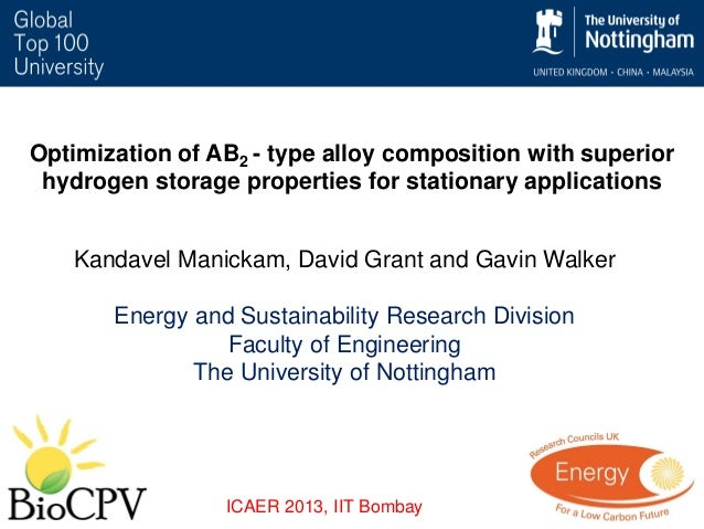 Optimization of AB2 - type alloy composition with superior hydrogen storage properties for stationary applications Kandave...