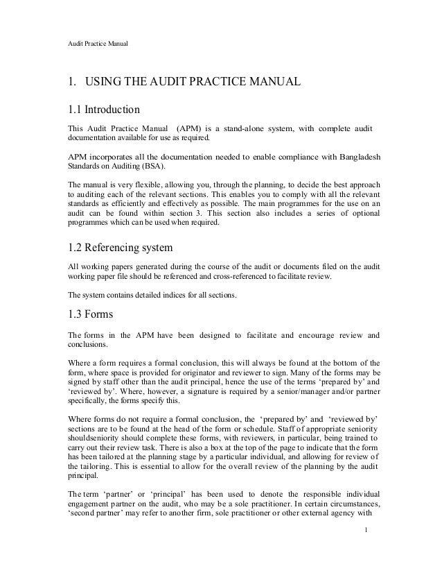 audit workpaper template - audit practice manual icaew icab apm