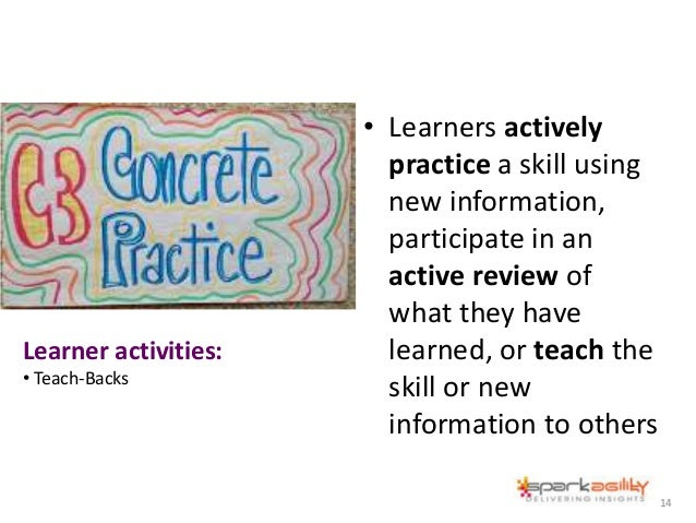 • Learners actively practice a skill using new information, participate in an active review of what they have learned, or ...