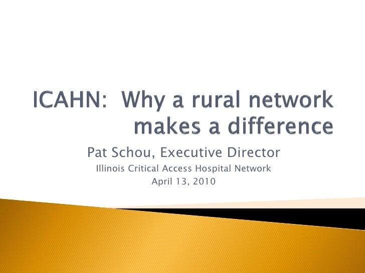 Pat Schou, Executive Director  Illinois Critical Access Hospital Network                 April 13, 2010