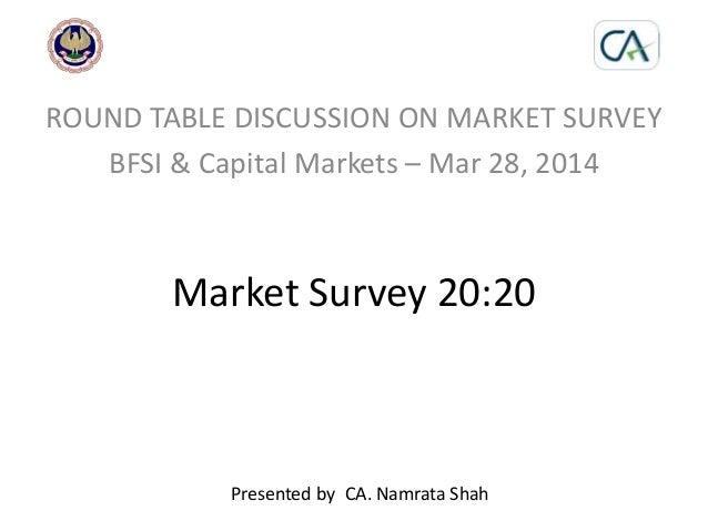 Market Survey 20:20 ROUND TABLE DISCUSSION ON MARKET SURVEY BFSI & Capital Markets – Mar 28, 2014 Presented by CA. Namrata...