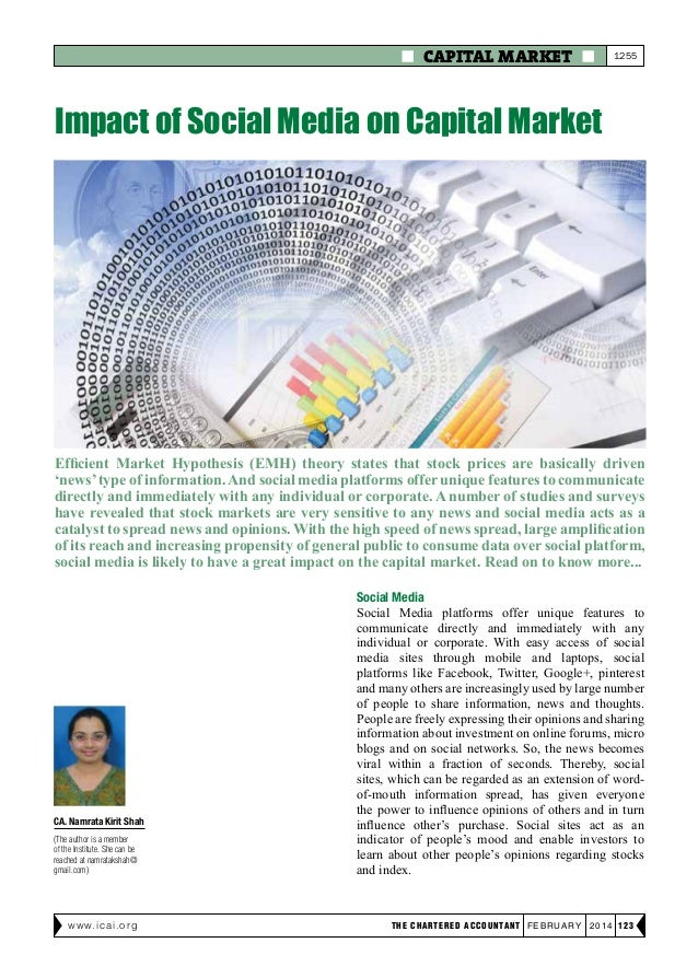  CAPITAL MARKET   1255  Impact of Social Media on Capital Market  Efficient Market Hypothesis (EMH) theory states that s...