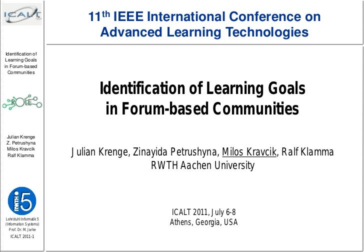 11th IEEE International Conference on                              Advanced Learning Technologies Identification of Learni...