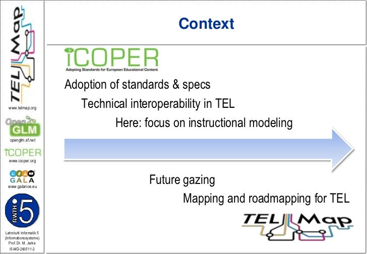Context<br />Adoption ofstandards & specs<br />Technical interoperability in TEL<br />Here: focus on instructionalmodelin...