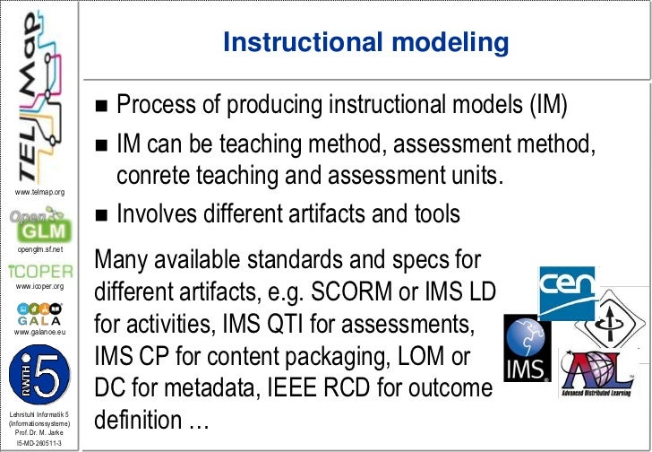 Instructionalmodeling<br />Process of producing instructional models (IM)<br />IM can be teaching method, assessment metho...