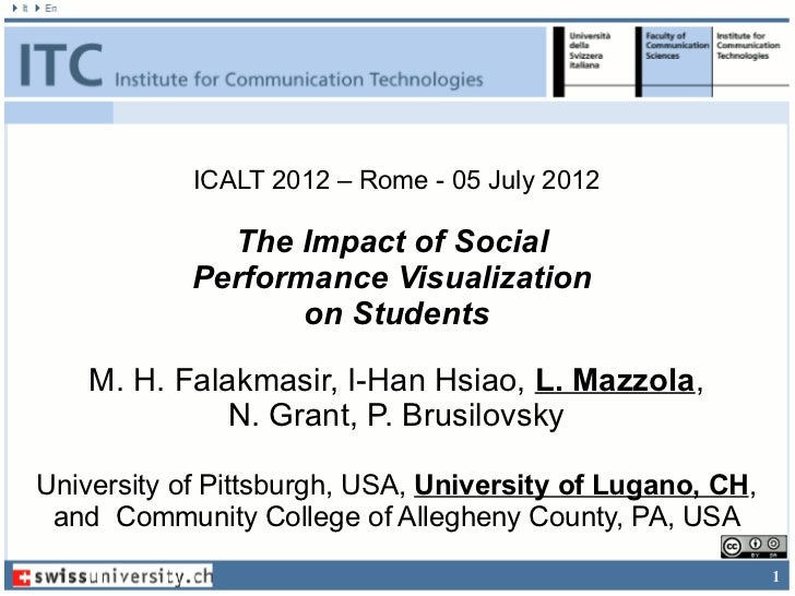 ICALT 2012 – Rome - 05 July 2012              The Impact of Social            Performance Visualization                   ...