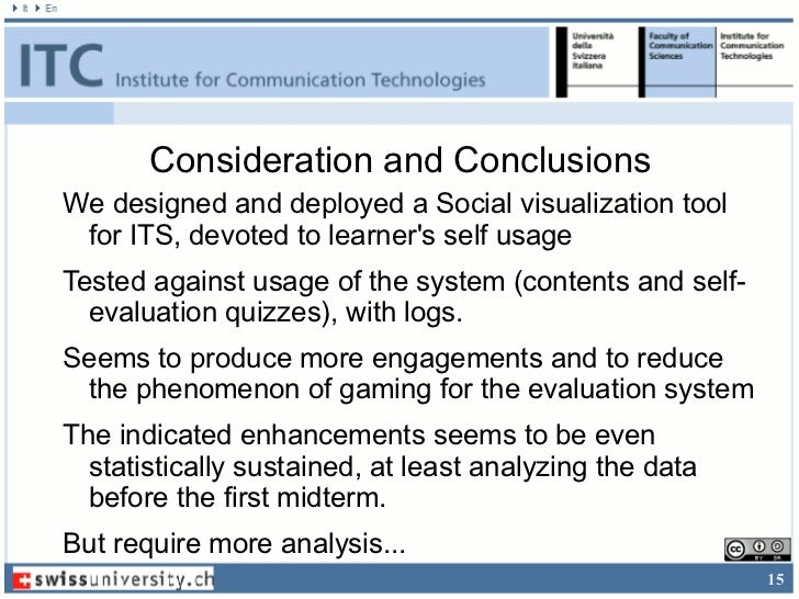 Consideration and ConclusionsWe designed and deployed a Social visualization tool for ITS, devoted to learners self usageT...