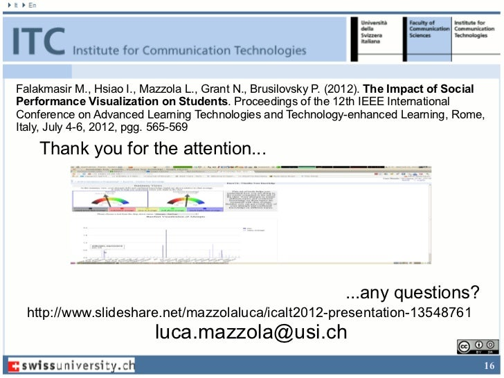 Falakmasir M., Hsiao I., Mazzola L., Grant N., Brusilovsky P. (2012). The Impact of SocialPerformance Visualization on Stu...