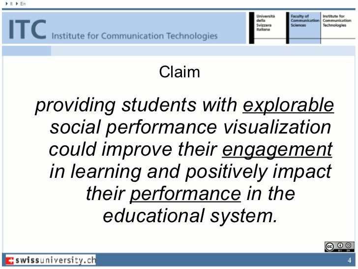 Claimproviding students with explorable  social performance visualization could improve their engagement  in learning and ...