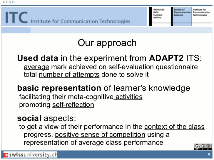 Our approachUsed data in the experiment from ADAPT2 ITS: average mark achieved on self-evaluation questionnaire total numb...