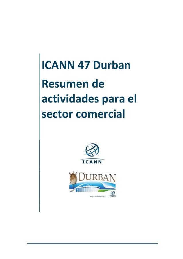 ICANN 47 Durban Resumen de actividades para el sector comercial