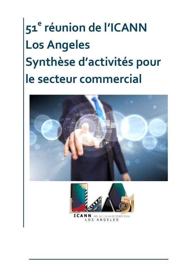 51e réunion de l'ICANN Los Angeles Synthèse d'activités pour le secteur commercial