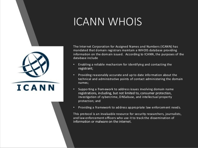 ICANN WhoIs Backgrounder