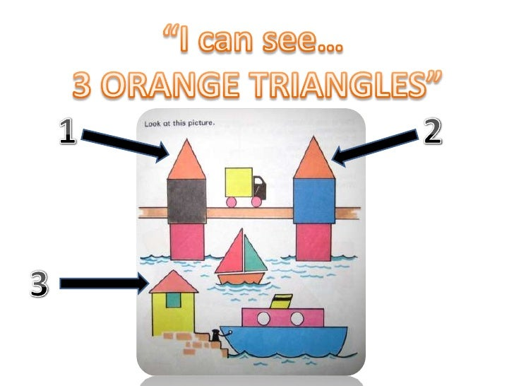 """I can see…<br /> 3 ORANGE TRIANGLES""<br />1<br />2<br />3<br />"