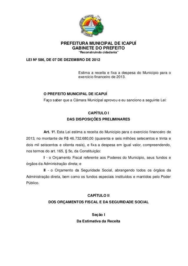 "PREFEITURA MUNICIPAL DE ICAPUÍ                         GABINETE DO PREFEITO                                ""Reconstruindo ..."