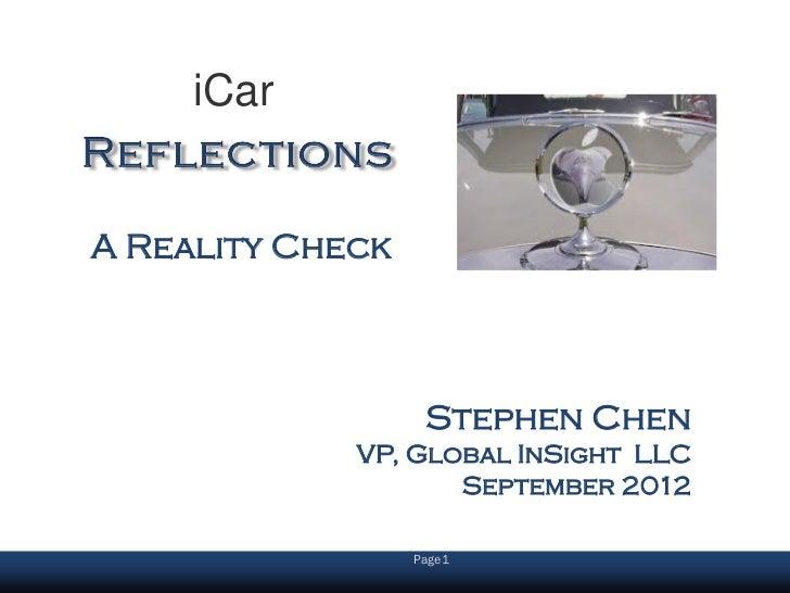 iCarA Reality Check                   Stephen Chen             VP, Global InSight LLC                    September 2012   ...