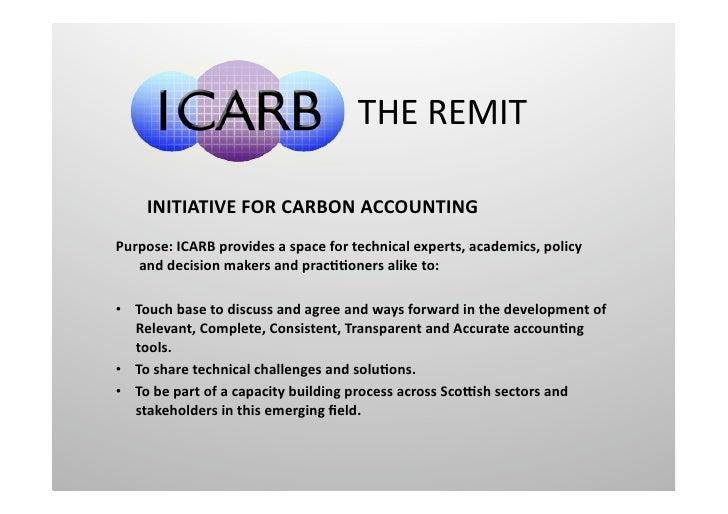 THEREMIT    INITIATIVEFORCARBONACCOUNTINGPurpose:ICARBprovidesaspacefortechnicalexperts,academics,policy ...