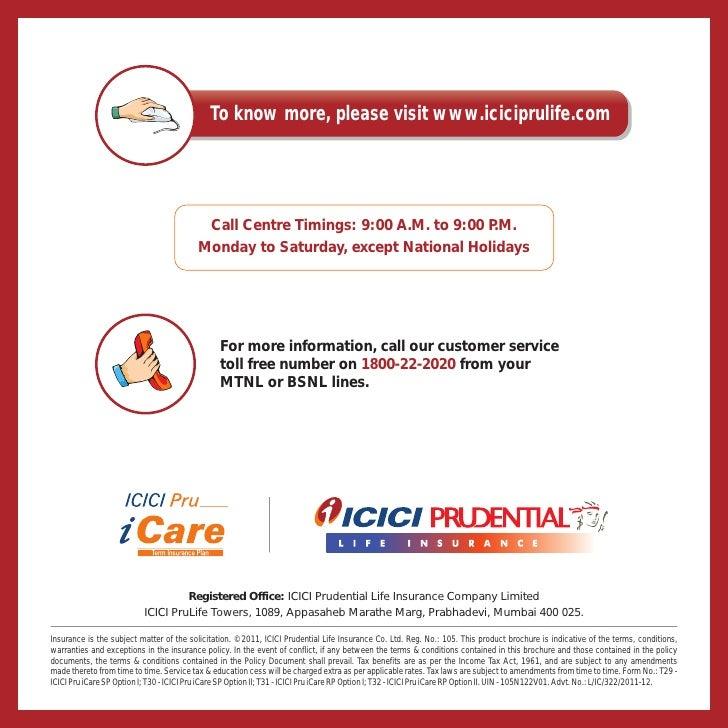 I care ICICI Term Plan brochure
