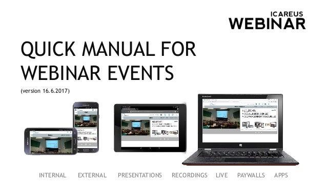 Icareus Solutions Webinar Quick Manual, English