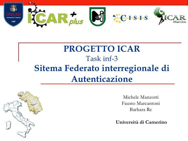 PROGETTO ICARTask inf-3Sitema Federato interregionale di Autenticazione<br />Michele Manzotti<br />Fausto Marcantoni<br />...