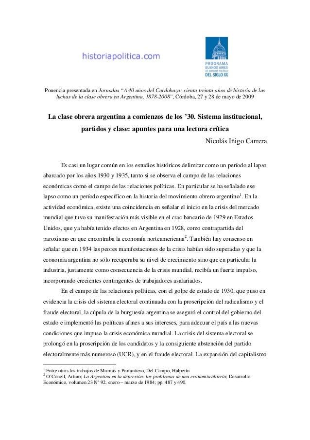 """Ponencia presentada en Jornadas """"A 40 años del Cordobazo: ciento treinta años de historia de las luchas de la clase obrera..."""