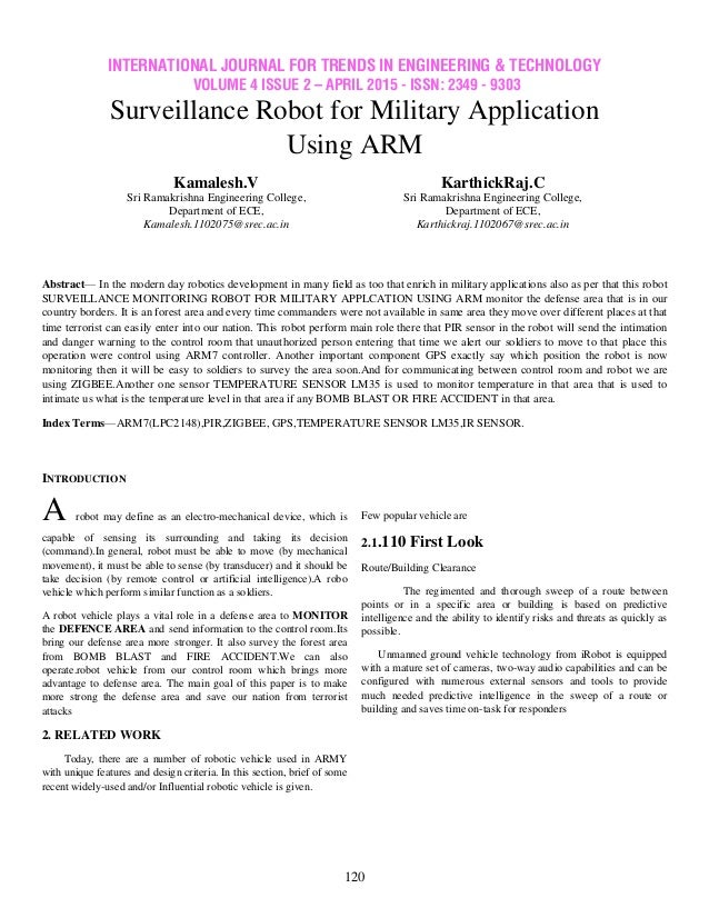 Surveillance Robot for Military Application Using ARM