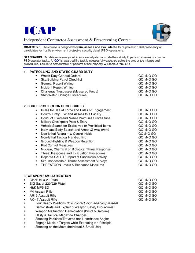 ICAP Independent Contractor Assessment & Prescreening Course OBJECTIVE: This course is designed to train, assess and evalu...