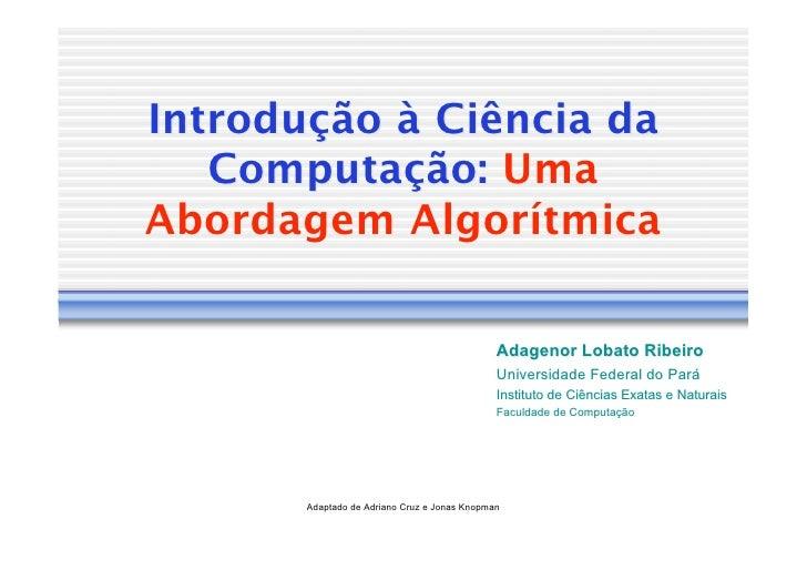 Introdução à Ciência da    Computação: Uma Abordagem Algorítmica                                                Adagenor L...