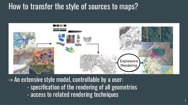 7 Expressive Rendering -> An extensive style model, controllable by a user: - specification of the rendering of all geomet...