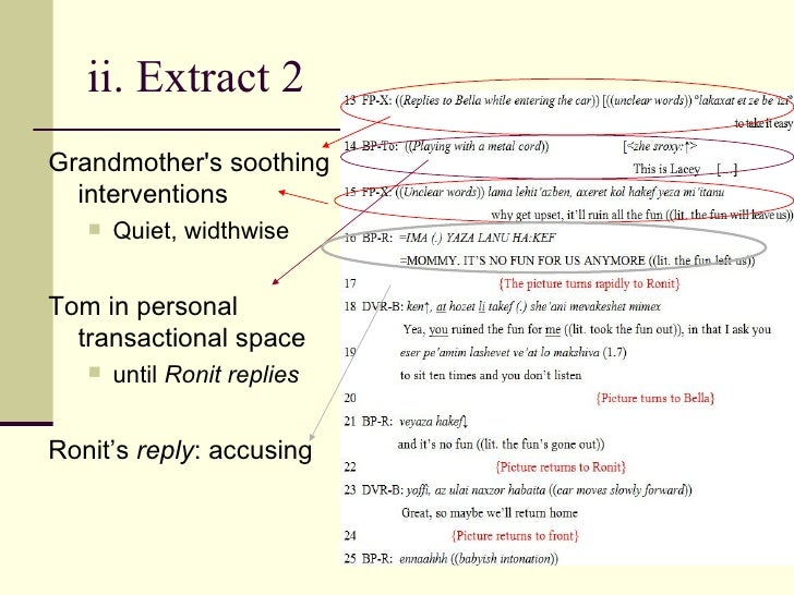 ii. Extract 2  <ul><li>Grandmother's soothing interventions </li></ul><ul><ul><li>Quiet, widthwise </li></ul></ul><ul><li>...