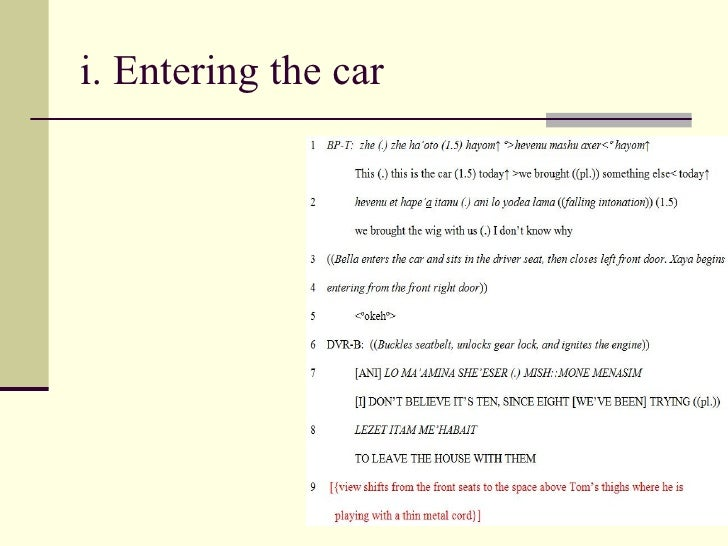 i. Entering the car