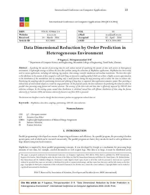 "International Conference on Computer Applications 22 Cite this article as: P Suganya, Thirupurasundari D R. ""Data Dimensio..."
