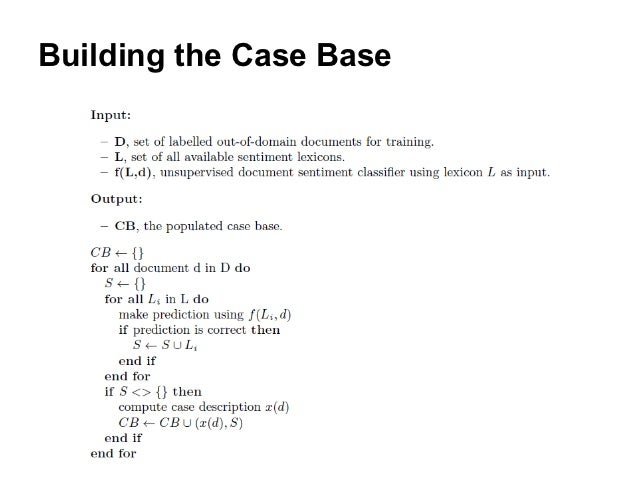case based reasoning for classification problem Case-based reasoning (cbr) is the procedure of solving a problem based on the solutions of similar past problems a case typically comprises of two main parts: the.