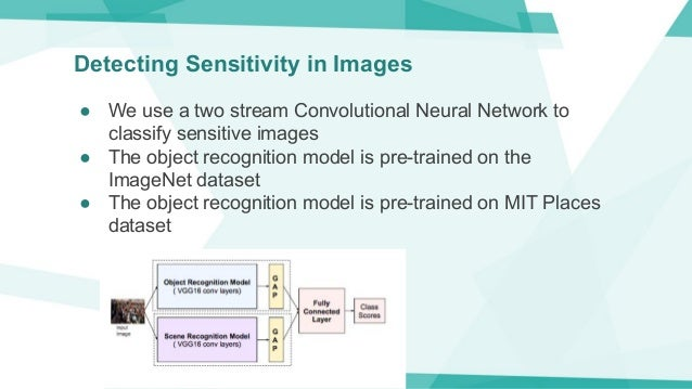 Detecting Sensitivity in Images ● We use a two stream Convolutional Neural Network to classify sensitive images ● The obje...