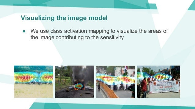 Visualizing the image model ● We use class activation mapping to visualize the areas of the image contributing to the sens...