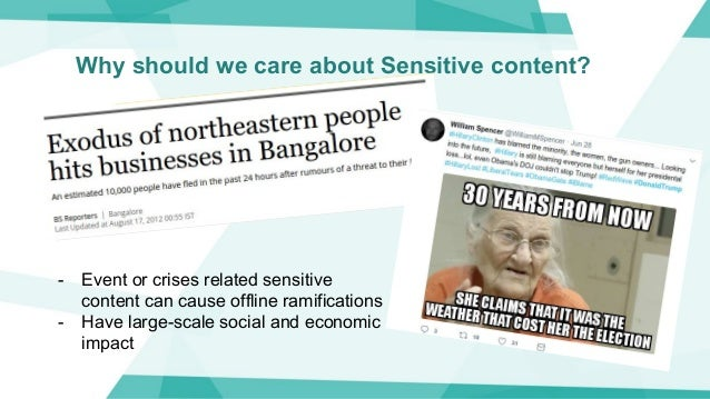 Why should we care about Sensitive content? - Event or crises related sensitive content can cause offline ramifications - ...