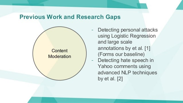Previous Work and Research Gaps Content Moderation - Detecting personal attacks using Logistic Regression and large scale ...
