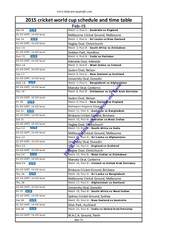 Icc Cricket World Cup 2015 Schedule With Time And Table