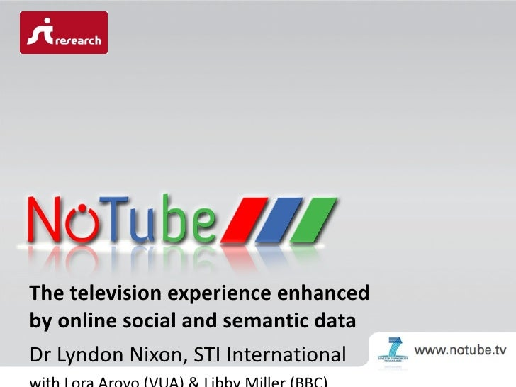 The television experience enhanced by online social and semantic data Dr Lyndon Nixon, STI International with Lora Aroyo (...