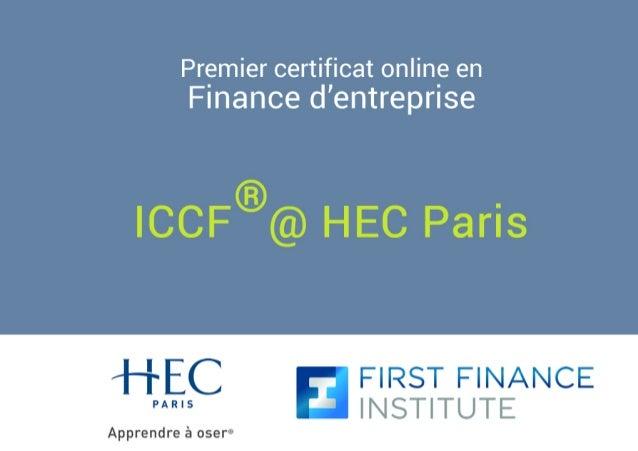 Premier certificat online en  Finance d'entreprise  ®  ICCF @ HEC Paris