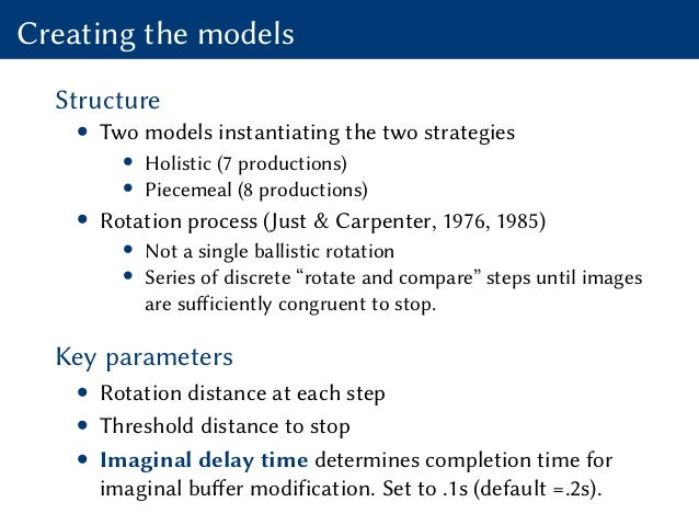 Creating the models Structure • Two models instantiating the two strategies • Holistic (7 productions) • Piecemeal (8 prod...