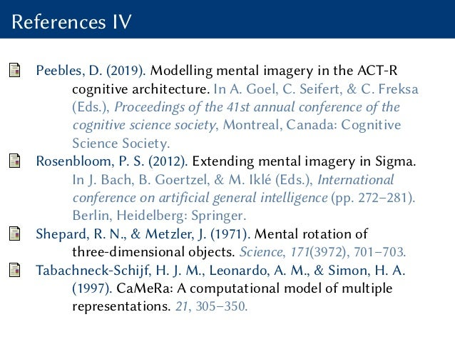 References IV Peebles, D. (2019). Modelling mental imagery in the ACT-R cognitive architecture. In A. Goel, C. Seifert, & ...