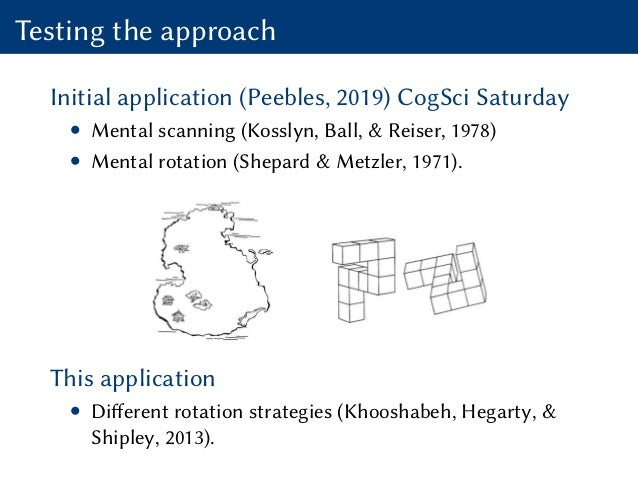 Testing the approach Initial application (Peebles, 2019) CogSci Saturday • Mental scanning (Kosslyn, Ball, & Reiser, 1978)...