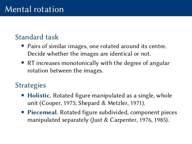 Mental rotation Standard task • Pairs of similar images, one rotated around its centre. Decide whether the images are iden...
