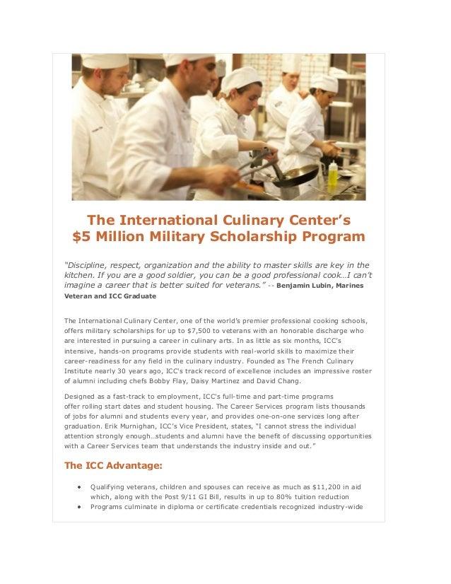 "The International Culinary Center's $5 Million Military Scholarship Program ""Discipline, respect, organization and the abi..."