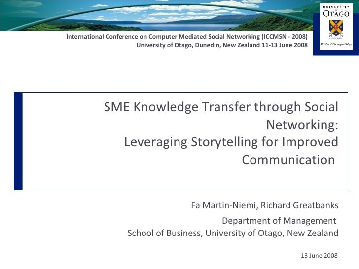 SME Knowledge Transfer through Social Networking: Leveraging Storytelling for Improved Communication  Fa Martin-Niemi, Ric...