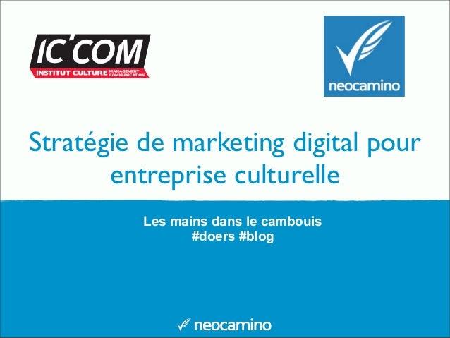 Stratégie de marketing digital pour entreprise culturelle Les mains dans le cambouis #doers #blog